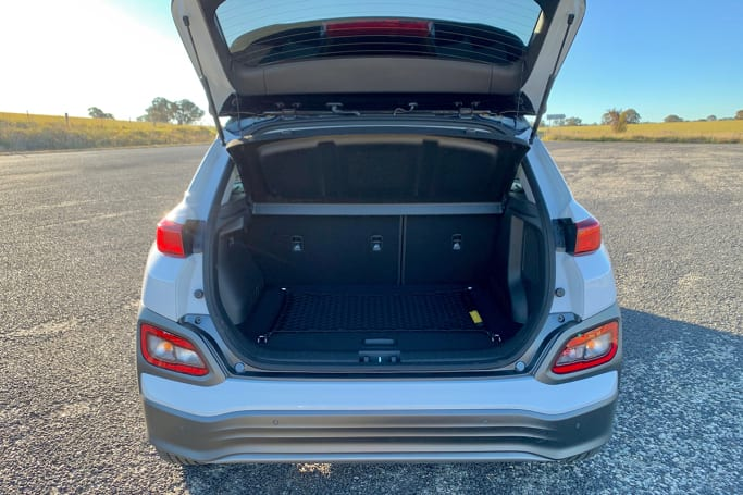 Boot space in the Kona Electric is smaller than a petrol Kona at 332 litres (VDA).