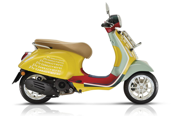 """The Vespa Primavera Sean Wotherspoon can be worn with a matching helmet, t-shirts or a """"modern tracksuit""""."""
