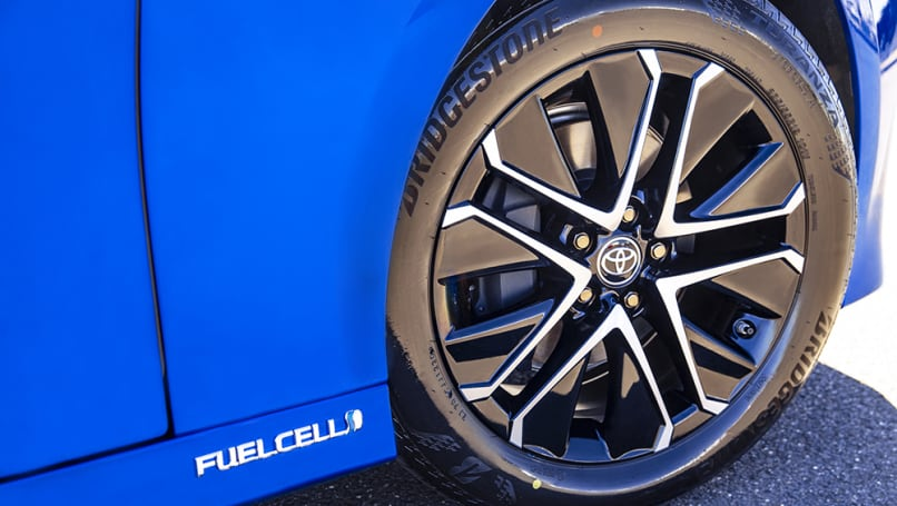 The Mirai wears 19-inch alloy wheels.