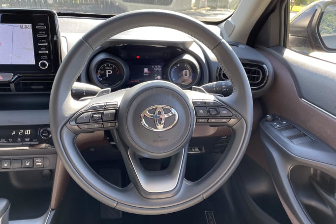 The leather-trimmed steering wheel with paddle-shifters is a treat.