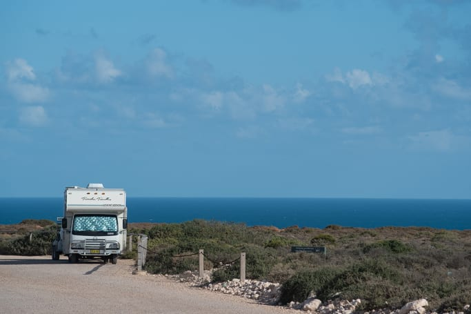 Camp on the edge of the world along the Nullarbor.