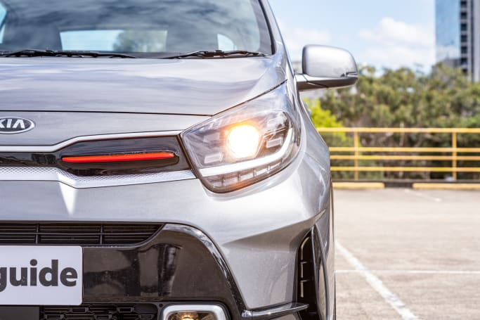 The GT-Line gets a set of upgraded projector headlights (pictured: 2021 Picanto GT-Line).