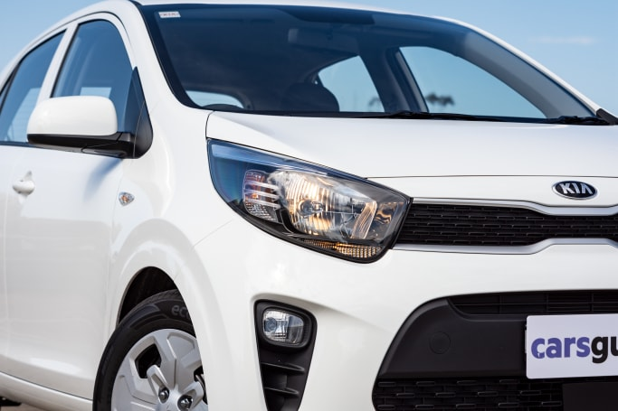 The base S has 'upgraded' (but still dull) halogen headlights (pictured: 2021 Picanto S).
