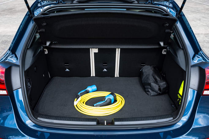 Despite a relatively large and water-cooed lithium-ion battery under the boot floor, and 35-litre fuel tank in front of the rear axle, the hatchback as tested here only loses 45-litres compared to its non-hybrid version. (image: Tom White)