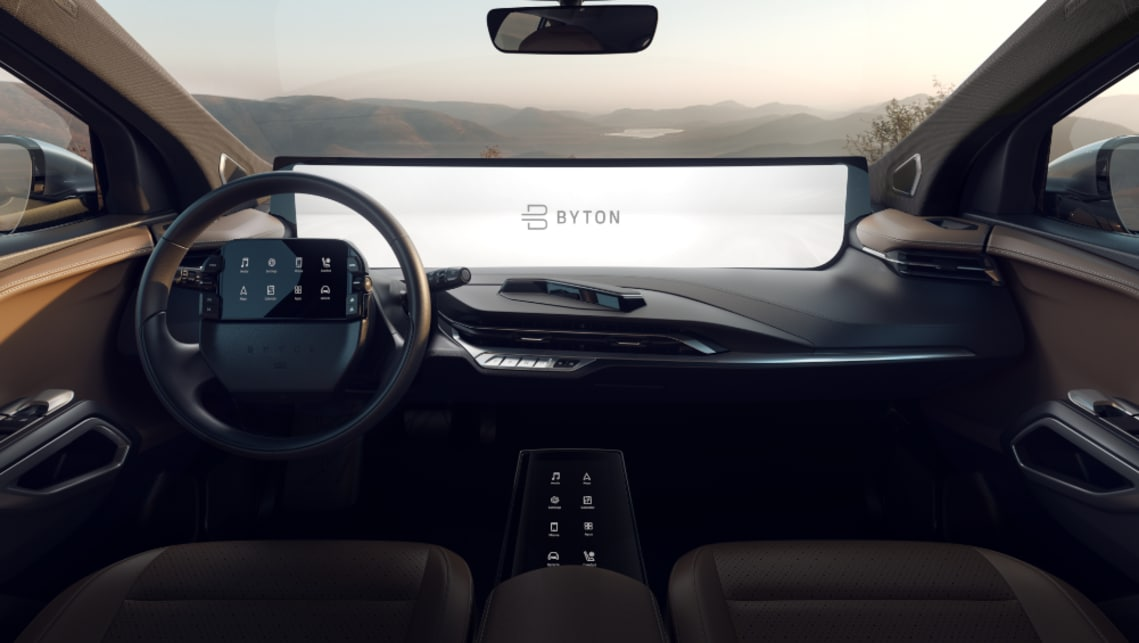The Tesla competitor's dash is dominated by a massive, 50:1 digital screen that measures 1.25m in length.