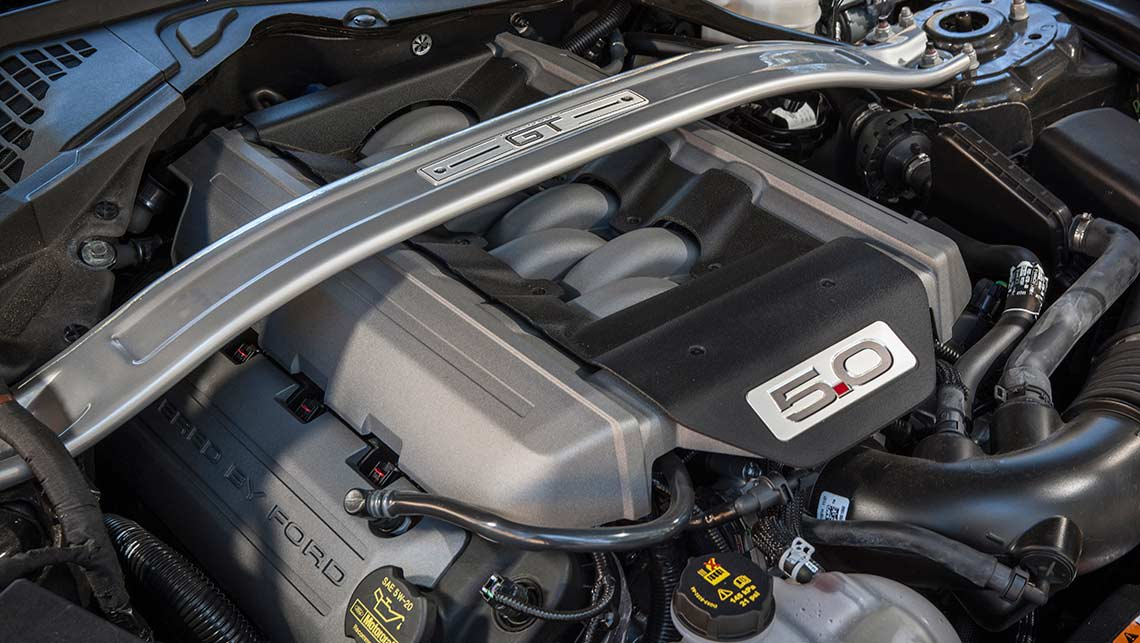 The 2015 Ford Mustang GT's 5.0-litre V8 engine.
