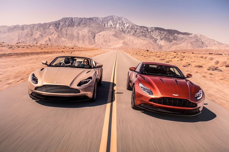 The Aston Martin DB11 is available with a 447kW, 5.2-litre, twin-turbo V12 both in coupe and convertible bodystyles.