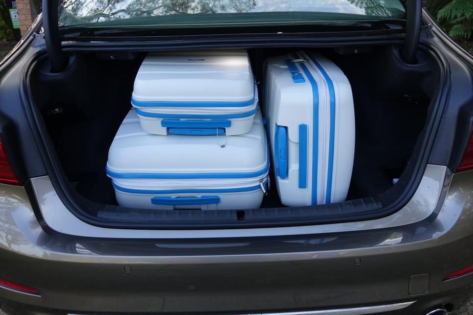 Our three-piece suitcase set (35, 68 and 105 litres) slotted in the boot easily.