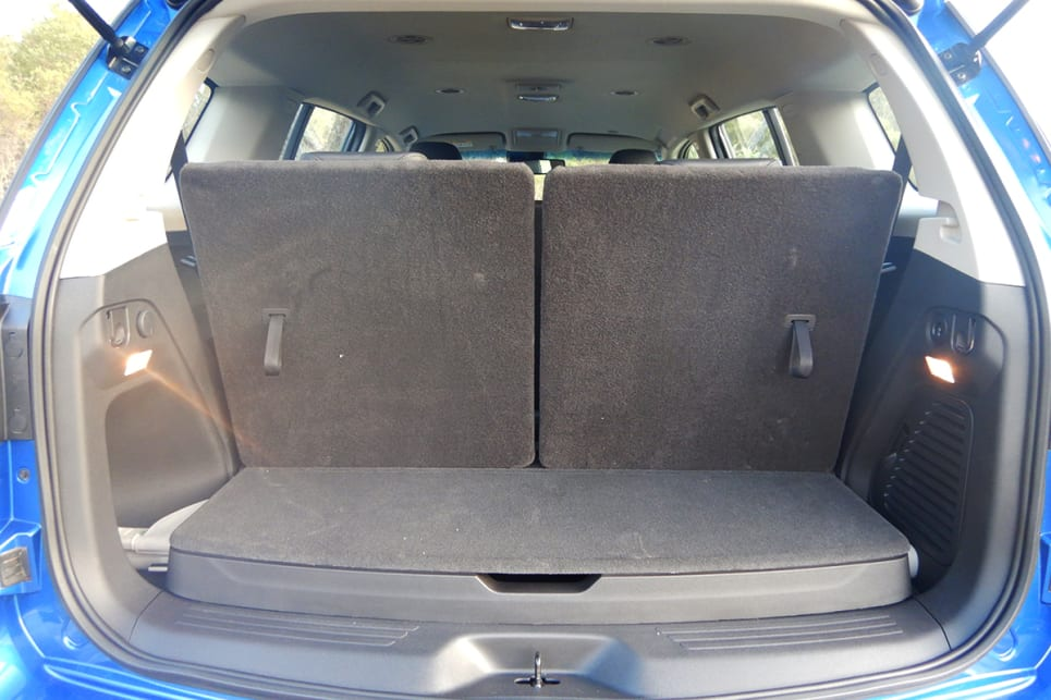 With all seats up, if you pack to the roof, there is 235 litres of cargo space at the very rear.