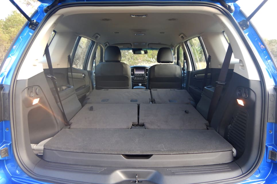 With the second-row (60/40 split-fold and tumble) and the third-row seats down, there is 1830 litres of cargo space.
