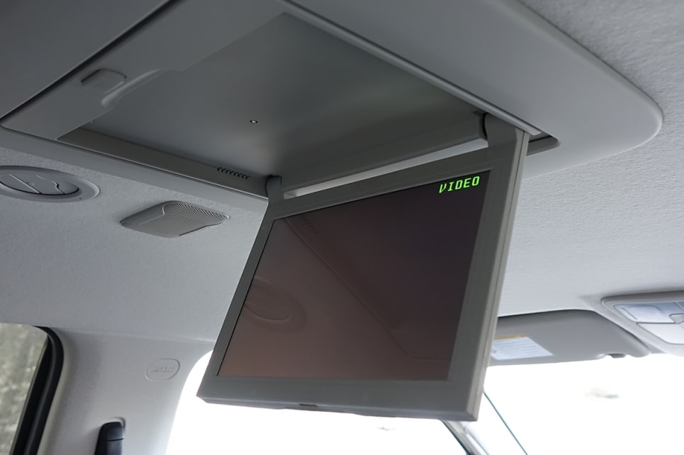 Passengers in the second row get a 10.0-inch, roof-mounted DVD screen. (image credit: James Cleary)