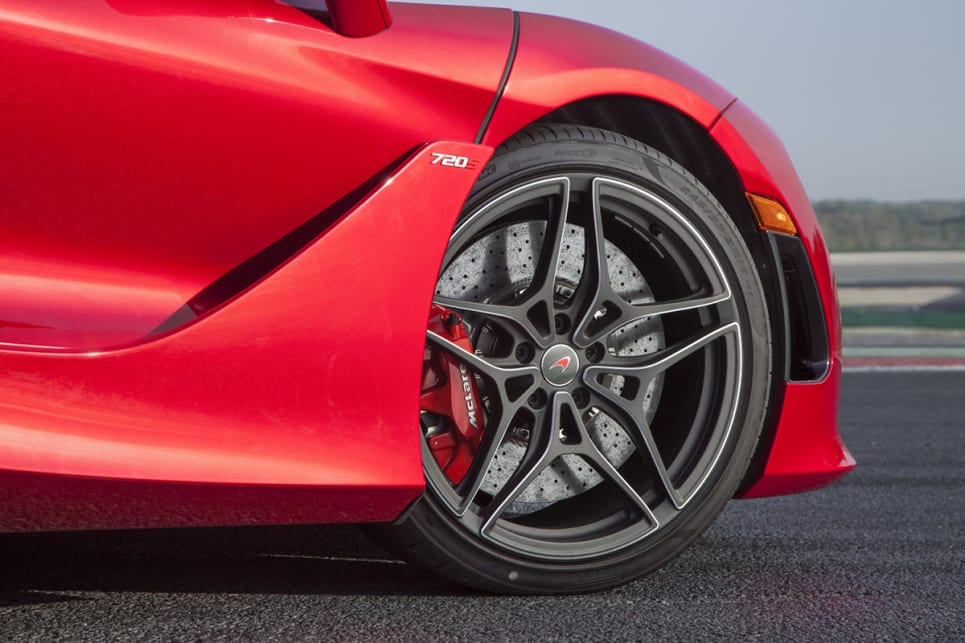 The 720S ships with 19-inch front wheels and 20-inch rears wrapped in Pirelli P-Zeros.