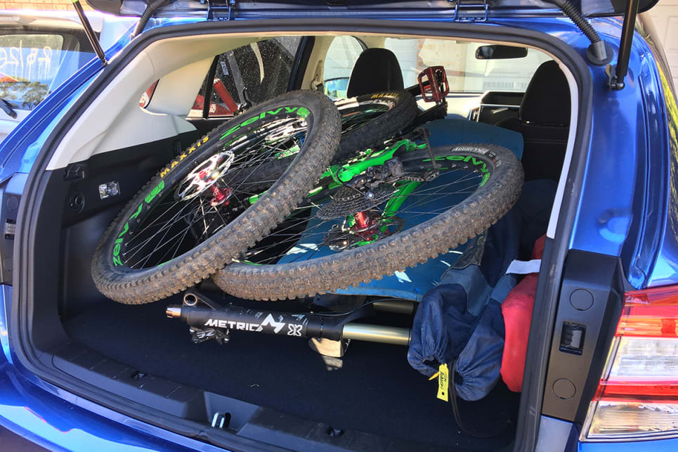 We managed to stuff two full-size dual-suspension mountain bikes in the rear, along with toolboxes, spares and kit, with room to spare.(image credit: Tim Robson)