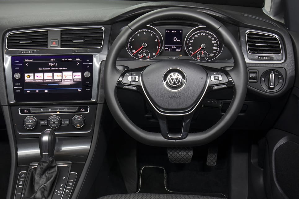 Three option packs are offered in the Comfortline: 'Infotainment', 'Active Info', 'Discover Pro'. (Volkswagen Golf 110TSI Comfortline wagon shown)