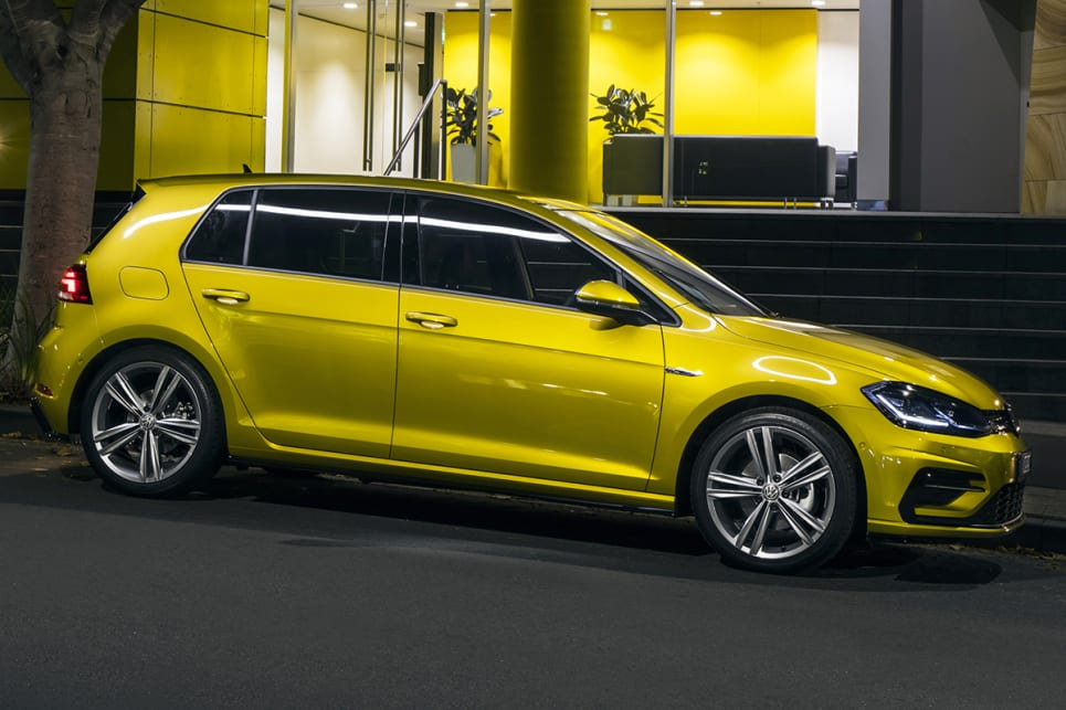 The R-Line pack brings a bodykit, bigger rims, and tuned suspension. (Volkswagen Golf 110TSI Highline with R-Line package shown)