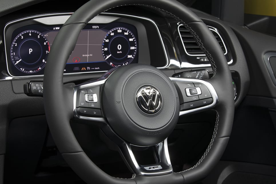 The 110TSI comes with a leather-trimmed steering wheel. (Volkswagen Golf 110TSI Highline with R-Line package shown)