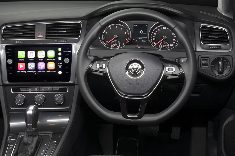 A six-speed manual gearbox is available in the base and Trendline models. (Volkswagen Golf 110TSI Trendline shown)