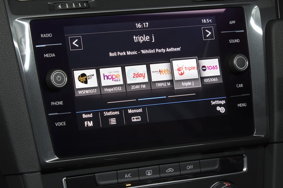 It also features a sleek new 8.0-inch multimedia screen with Apple CarPlay and Android Auto support. (Volkswagen Golf 110TSI Highline with R-Line package shown)