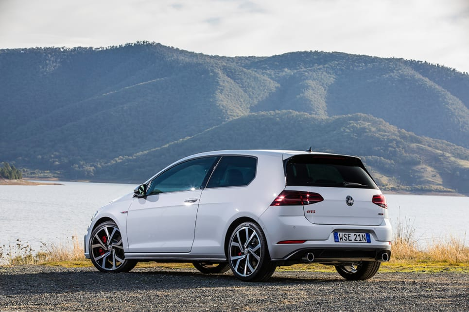 There are larger diameter twin exhaust tips and a new faux diffuser on the GTI.