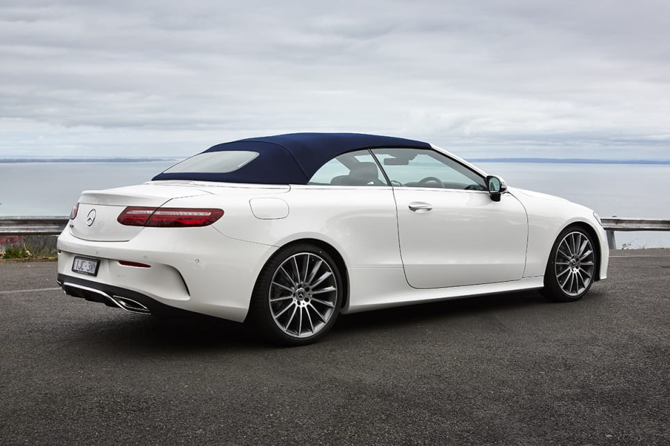 The cabrio shares the two-door coupe's muscular but refined look.