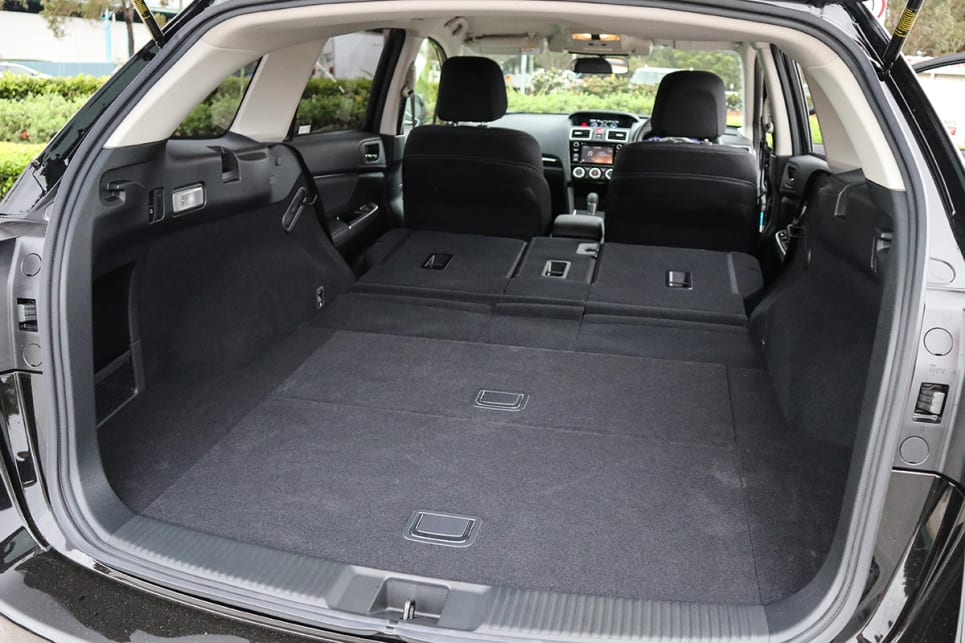 when the rear seats are dropped, the load area increases to 1446 litres. (Subaru Levorg 1.6 GT pictured)