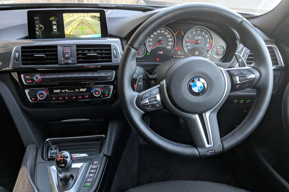 The M3 steering in Sport mode has a good weight, with pin-point response around bends.