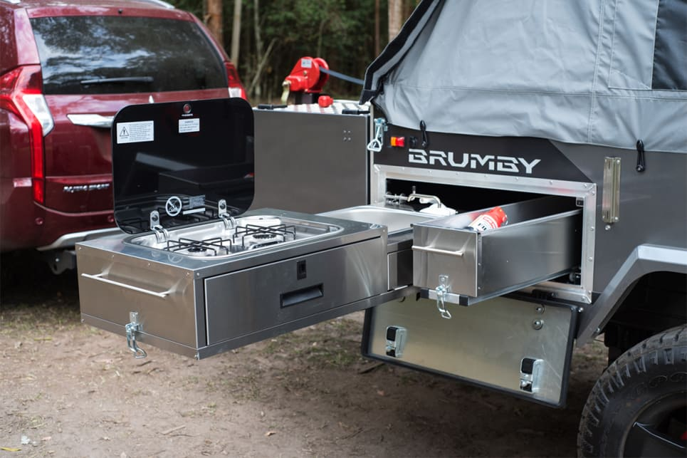 Stainless-steel and robust, the kitchen is made for the camping life. (image credit: Brendan Batty)