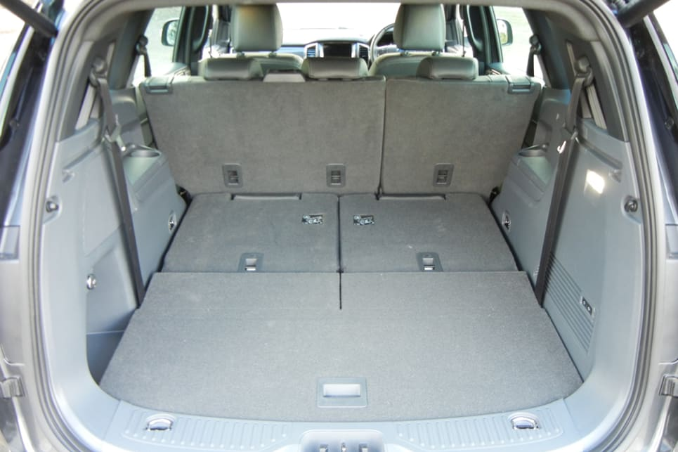 With the third row folded flat, the cargo volume expands to 1050 litres behind the second row. (Titanium variant shown)