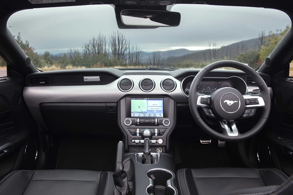 Softer plastics and the 12.4-inch instrument cluster give the Mustang GT's cabin feel higher quality feel and look