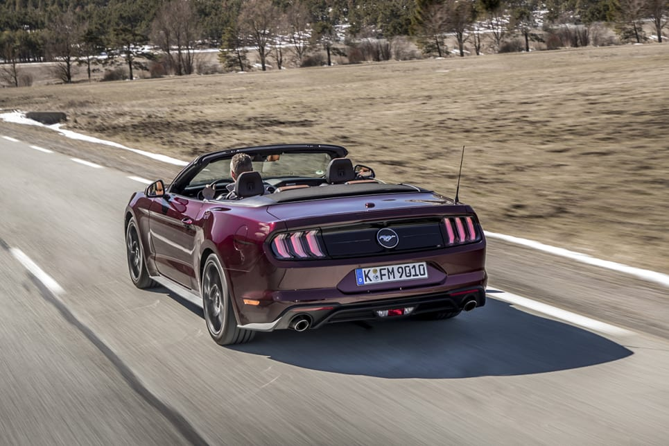 2018 Ford Mustang. (Ecoboost convertible variant shown)