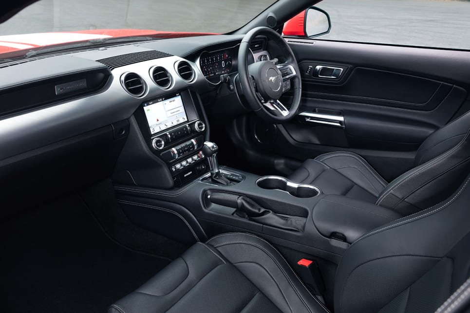 The Mustang GT has seating for four but those up front get most of the room.