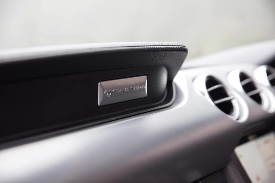 Brushed aluminium adds a premium air to the Mustang GT's cabin.