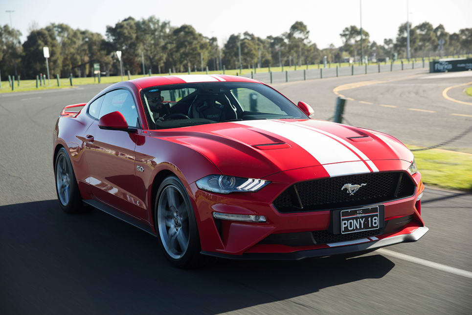 The Mustang's grille has been positioned lower causing the nose to turn down more.
