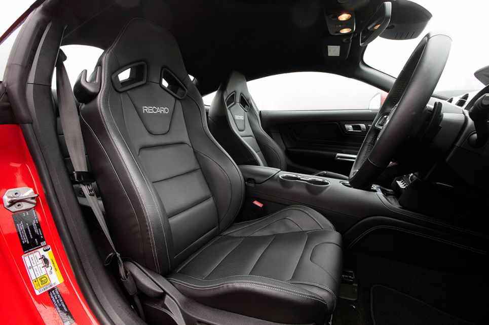 Power leather Recaro seats are an option - they're comfy and supportive.