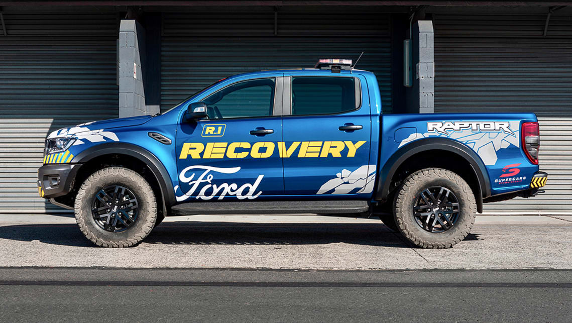 From the outside, the Raptor is stock standard apart from its racetrack livery that identifies it as a recovery vehicle.