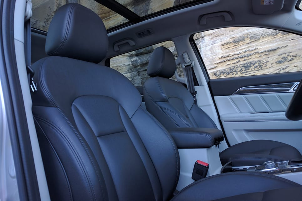 The sense of premium continues courtesy of a panoramic sunroof, heated front and rear seats, and leather-look trim.