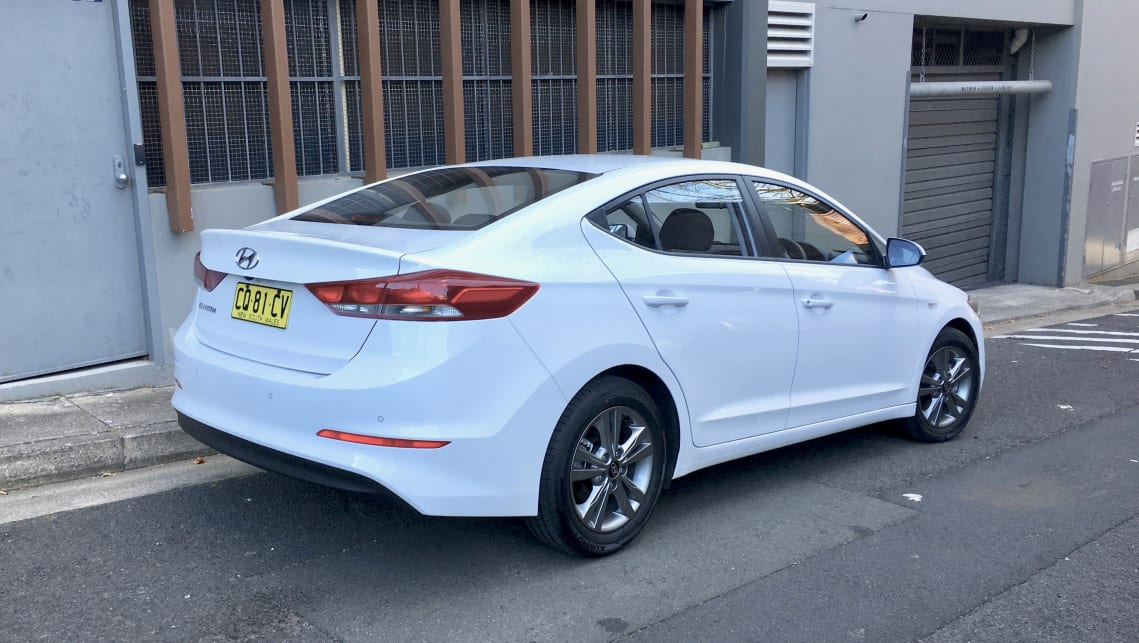 The shape of the Elantra is sleek, and it looks a bit old-school in comparison to Hyundai's newer models.