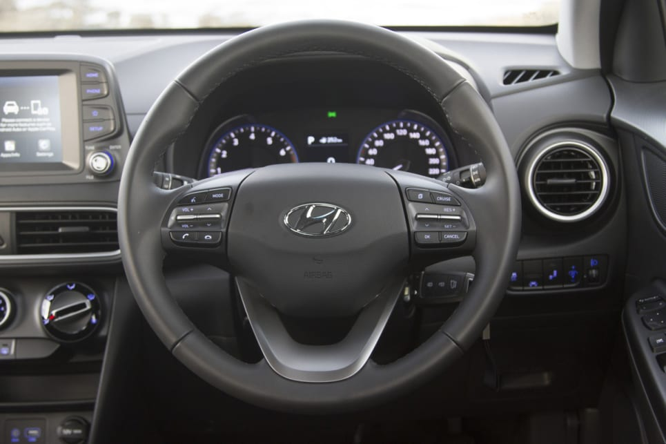 Inside, there is a leather steering wheel. (image credit: Peter Anderson)