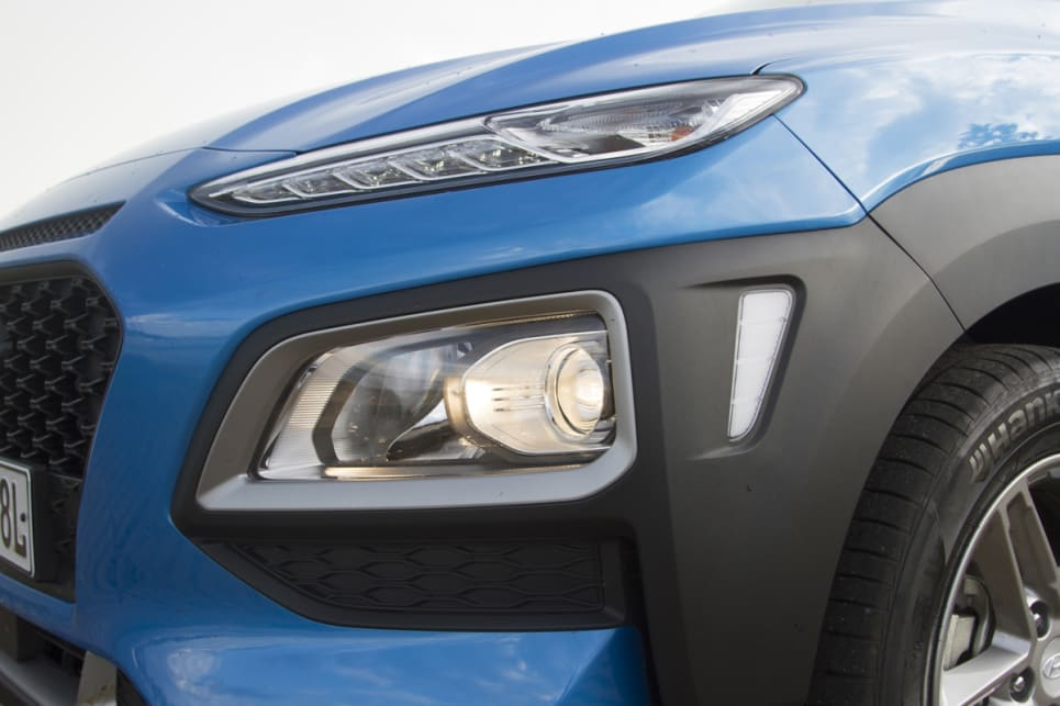 The Kona has auto halogen headlights. (image credit: Peter Anderson)