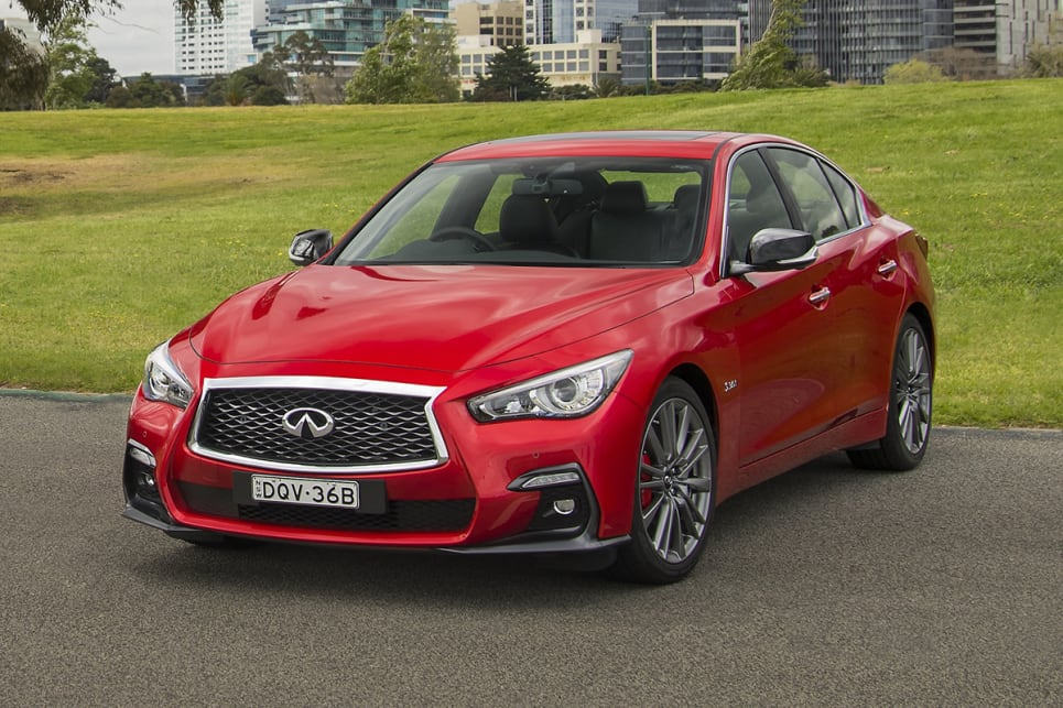 The Q50 Red Sport looks cranky from front on, which I like in a car.