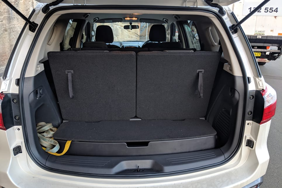 The MU-X has 235 litres of boot space with the third row up. (image: Dan Pugh)