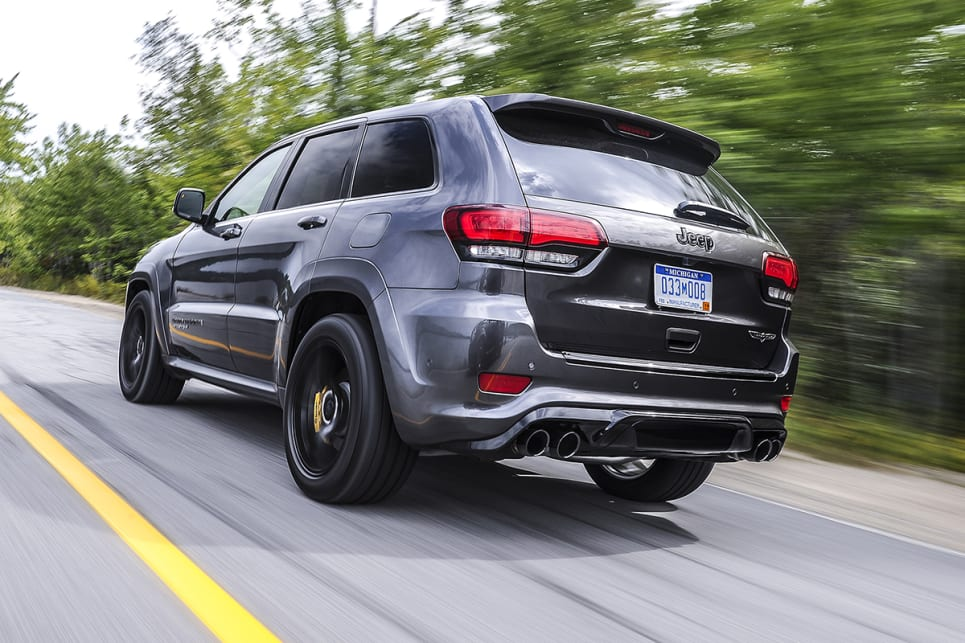 The Trackhawk's visual differences to an MY15 Grand Cherokee are the yellow Brembo calipers and the unique black chrome quad exhaust pipe.
