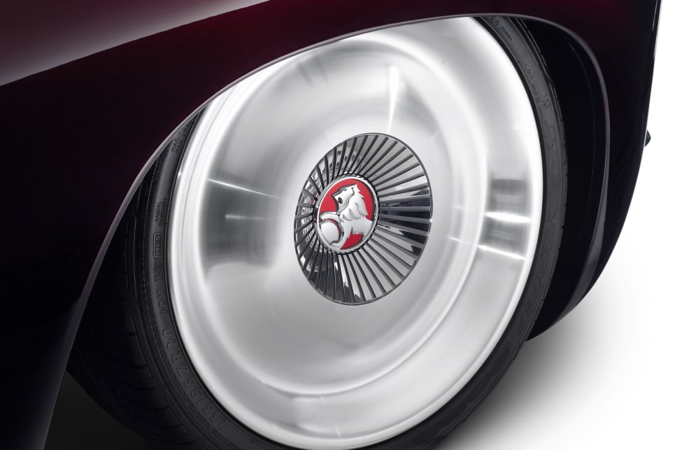 Efijy's wheels are a nod to the FJ Holden's original hubcaps, but were machined from solid billet aluminium.
