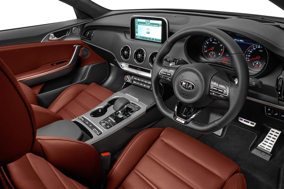 The GT-Line and GT gain nappa leather and a flat-bottomed steering wheel. (2018 Kia Stinger GT pictured)