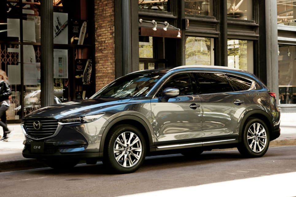 The CX-8 will truly set itself apart from the CX-9 with its diesel engine, a 140kW/450Nm 2.2-litre turbo four-cylinder unit.