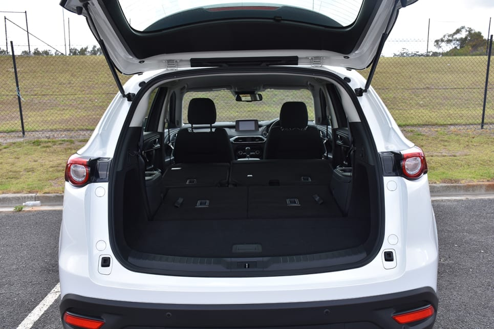 The CX-9 has a claimed boot size of 810 litres with five seats up, and that drops to 230L with seven seats in play. (image credit: Thomas White)