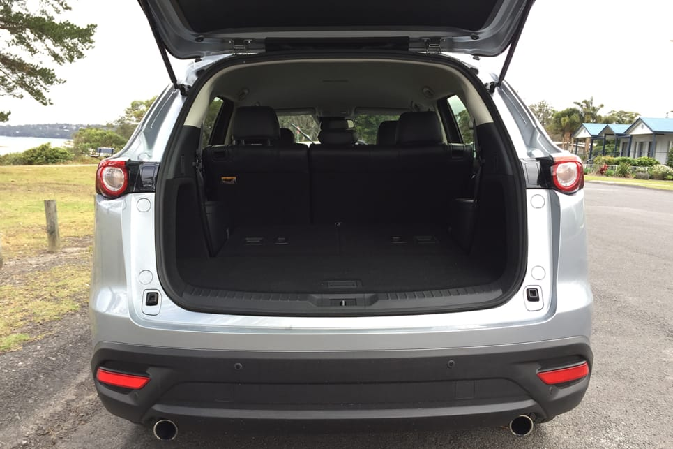The CX-9's boot has an 810-litre (VDA) cargo capacity with the third row folded flat.