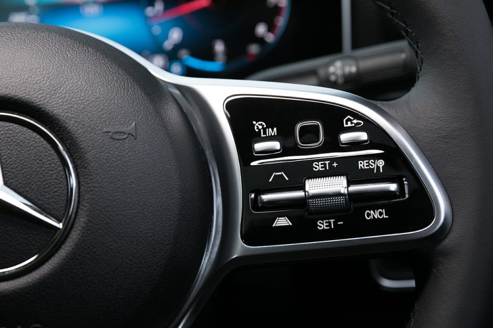 The A200's steering wheel comes with a thumb-swipe pad, which you can use to scroll through the options of your virtual display.