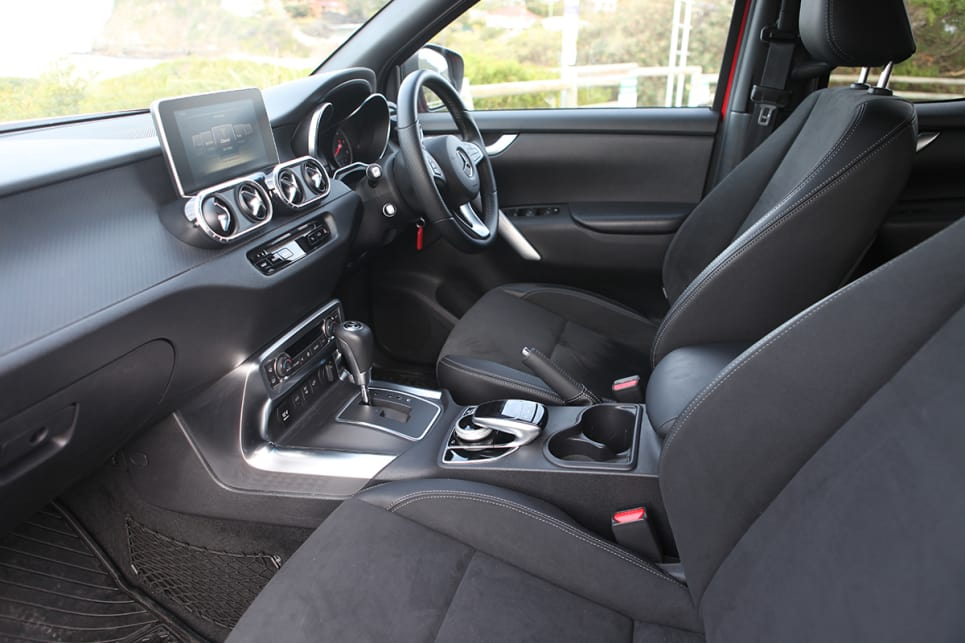 The front seats are nicely upholstered and comfortable, but you never feel like you're in a Mercedes-Benz.