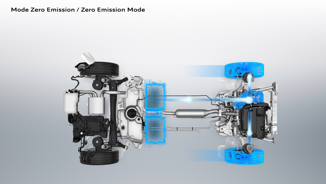 The Hybrid4 has an electric motor at the rear and it can operate together or separate to the front-drive petrol engine.